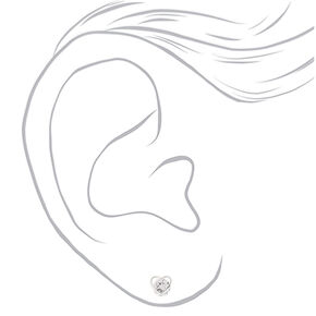 Silver Cubic Zirconia 8MM Heart Clip On Earrings,