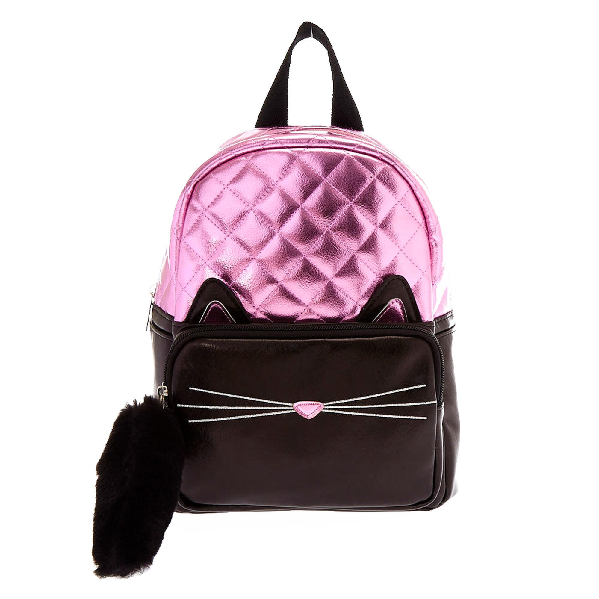 mini sac dos chat m tallis noir et rose claire 39 s fr. Black Bedroom Furniture Sets. Home Design Ideas