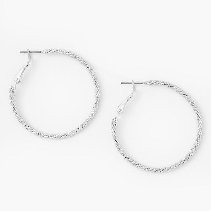 Silver 40MM Micro-Twist Textured Hoop Earrings,