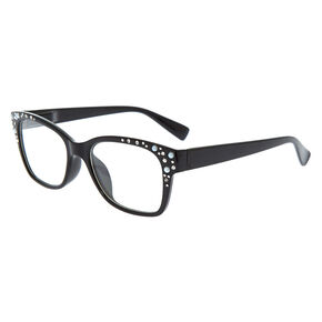 Embellished Retro Clear Lens Frames - Black,