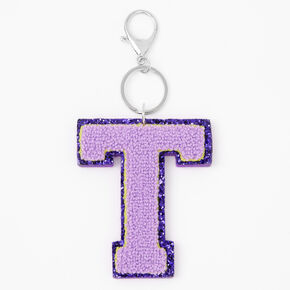 Purple Varsity Initial Keyring - T,
