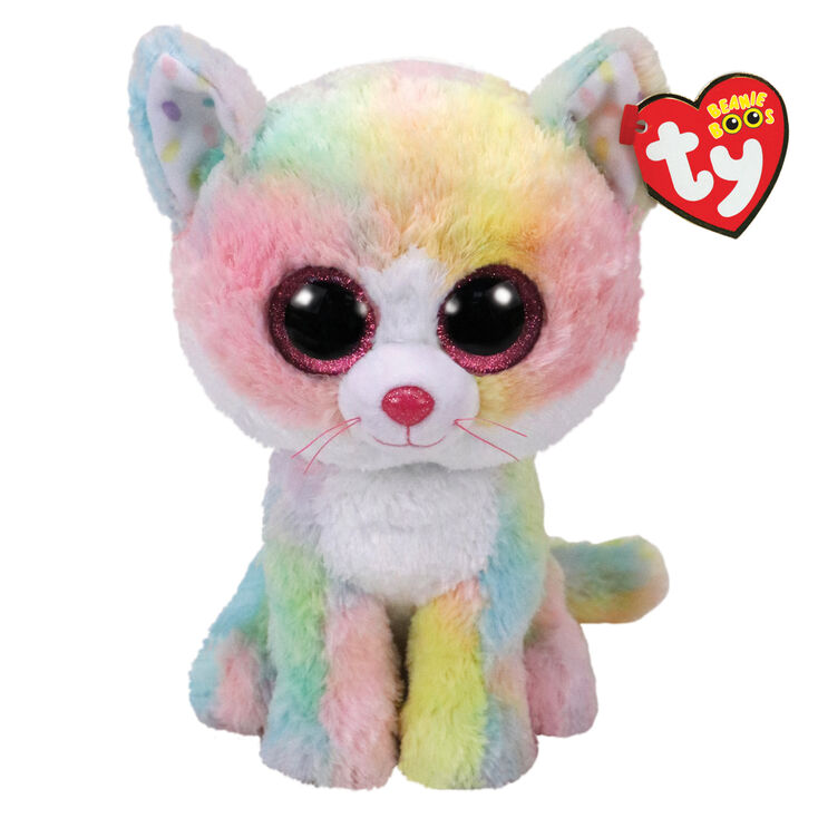 Claires Official Ty Beanie Boo Asher The Cat with Horn Soft Plush Toy for Girls Gray and White Stocking Stuffer Small 6 Inches