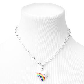 Collier en chaîne à pendentif cœur arc-en-ciel couleur argentée - Blanc,