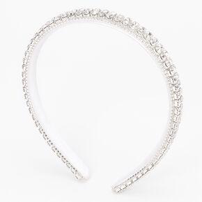 Silver Cushion Cut Rhinestone Multi-Row Headband - White,