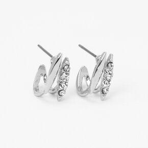 Silver Embellished Folded Stud Earrings,