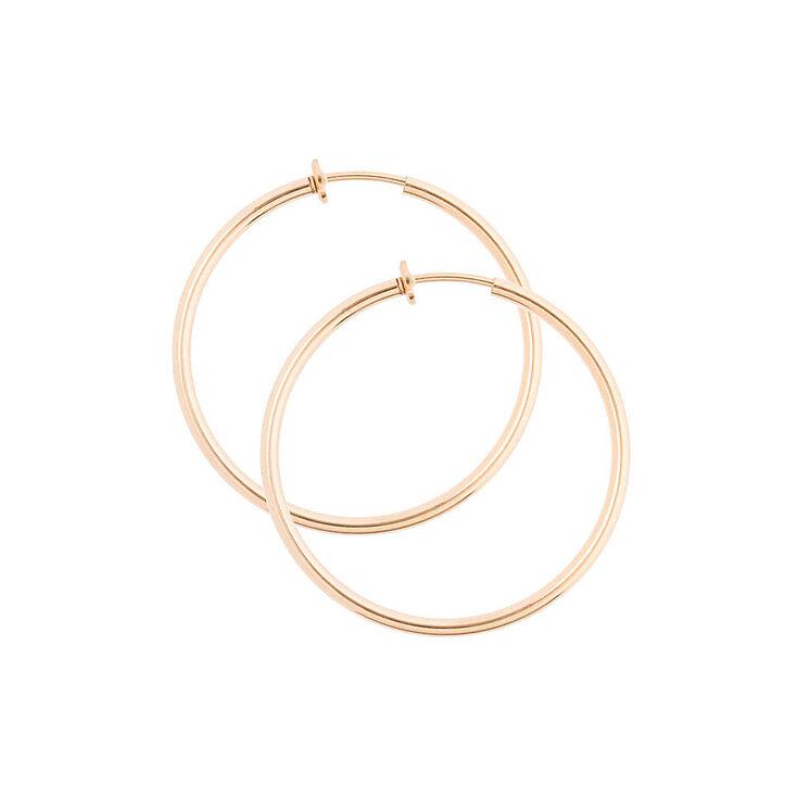Gold 40mm Clip On Hoop Earrings