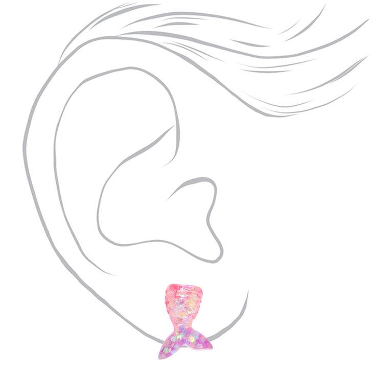 Boucles d'oreilles à clip queue de sirène irisées couleur argentée,