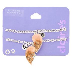 b1830e737424 Best Friends Glitter Heart Charm Bracelets - Pink