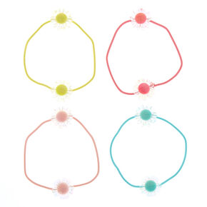 Claire's Club Clear Flower Hair Ties - 4 Pack,