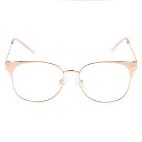 Rose Gold Browline Clear Lens Frames - Pink,