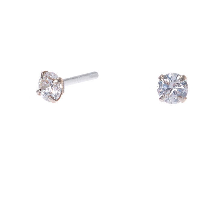522d11c42 Sterling Silver Cubic Zirconia 3MM Round Stud Earrings | Claire's US