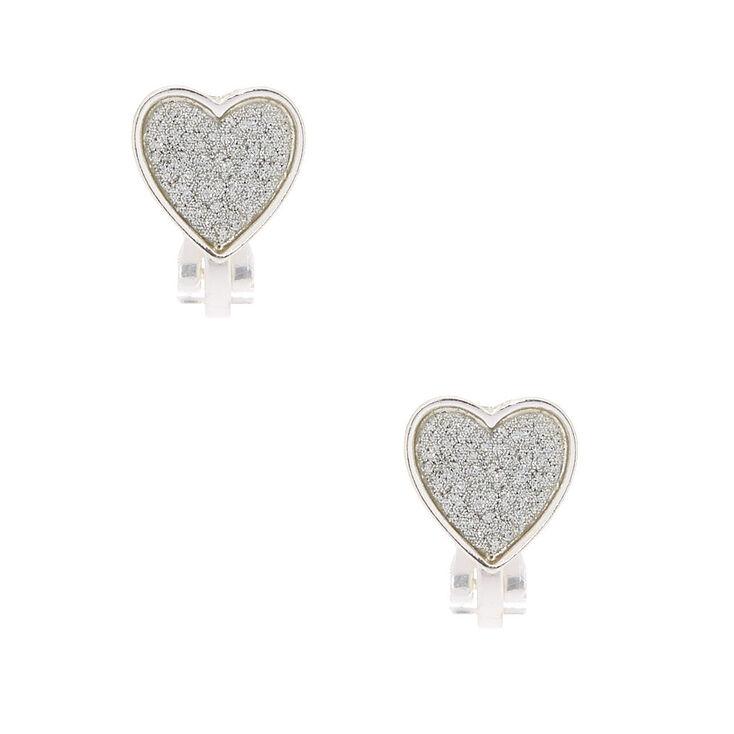 Silver Glitter Heart Clip On Earrings