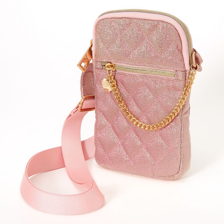 Nylon Quilted Crossbody Bag - Pink,