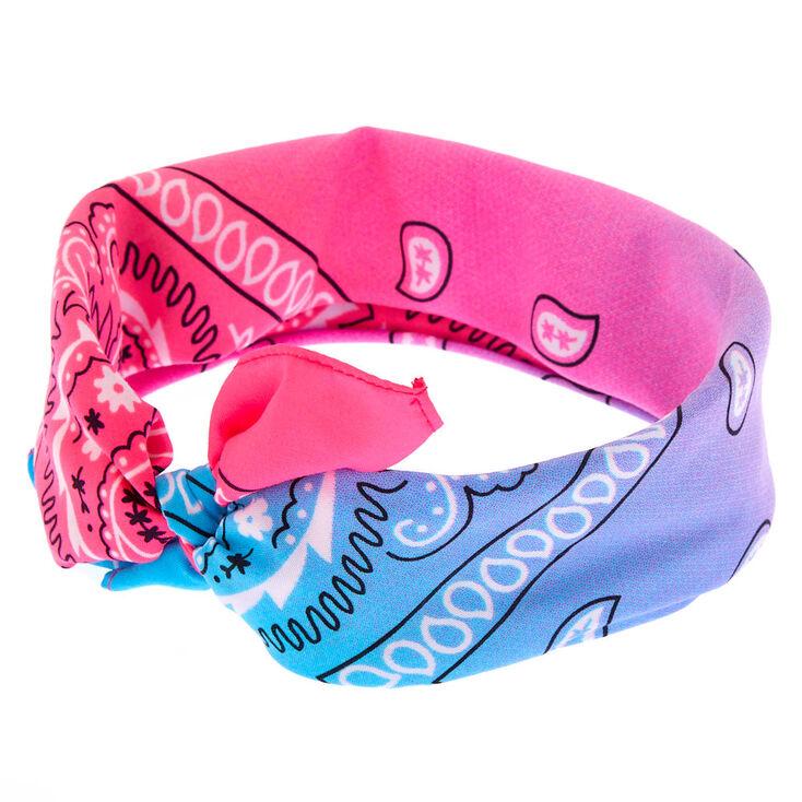 Blue & Pink Cool Ombre Paisley Bandana Headwrap,