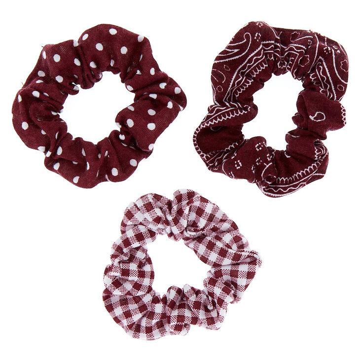 7acf71178 Bandana Print Mix Hair Scrunchies - Burgundy, 3 Pack | Claire's US