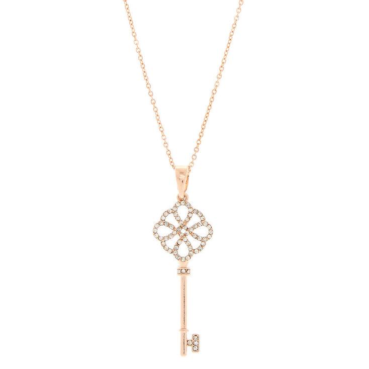 Long rose gold key pendant necklace claires long rose gold key pendant necklace mozeypictures Choice Image