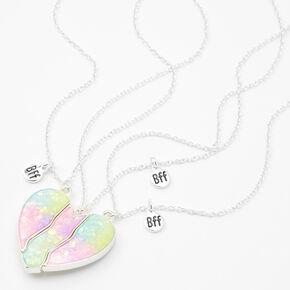 Colliers à pendentif cœur fendu en dégradé de couleurs fluo Best Friends - Lot de 3,