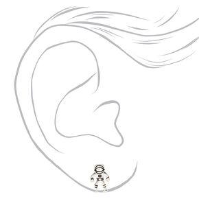 Silver Astronaut Stud Earrings,