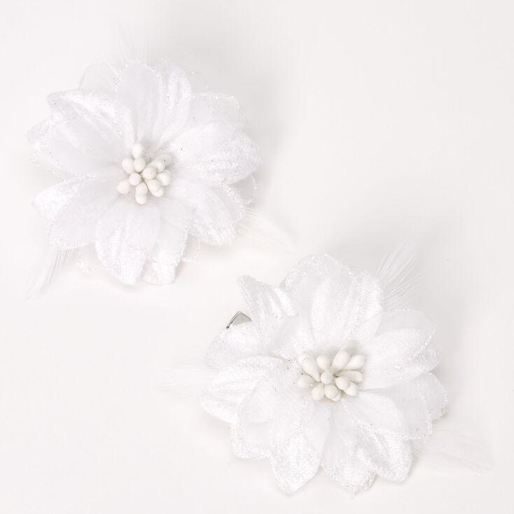 Barrettes à fleurs de lys - Blanc, lot de 2,