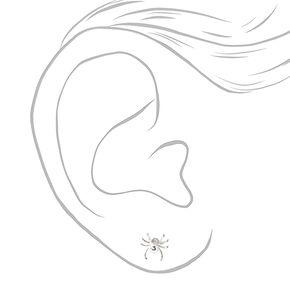 Clous d'oreilles araignée ornés de strass couleur argentée,