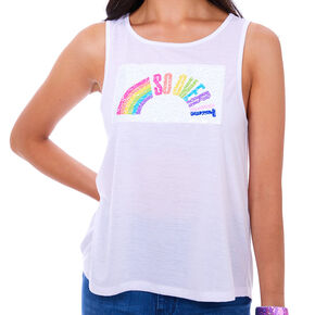 So Over It Reversible Sequins Tank Top - White,