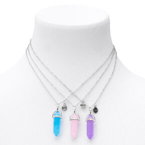 Silver Best Friends Healing Crystal Pendant Necklaces - 3 Pack,