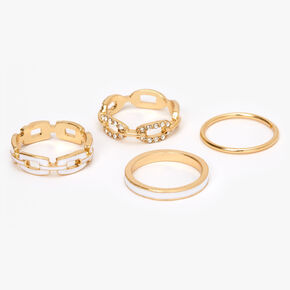 Gold Chain Link Rings - White, 4 Pack,