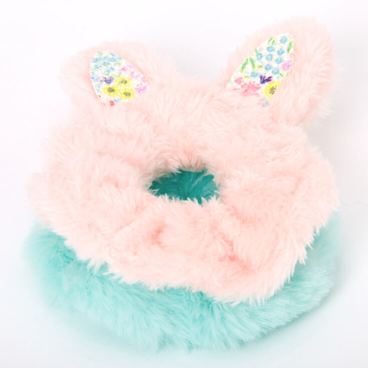 Claire's Club Small Faux Fur Pastel Bunny Hair Scrunchies - 2 Pack,