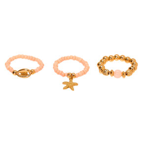 Gold Shell Stretch Rings - Pink, 3 Pack,