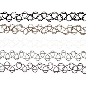Neutral Tattoo Choker Necklaces - 5 Pack,
