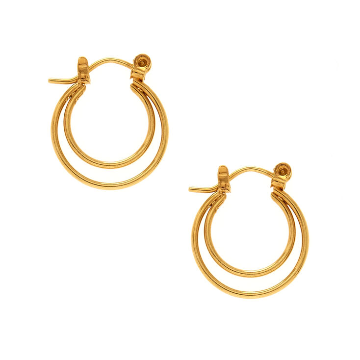 18kt Gold Plated 12MM Double Hoop Earrings,