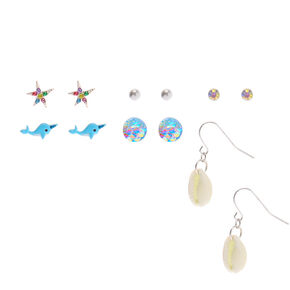 Silver Narwhal Seashell Mixed Earrings - Blue, 6 Pack,