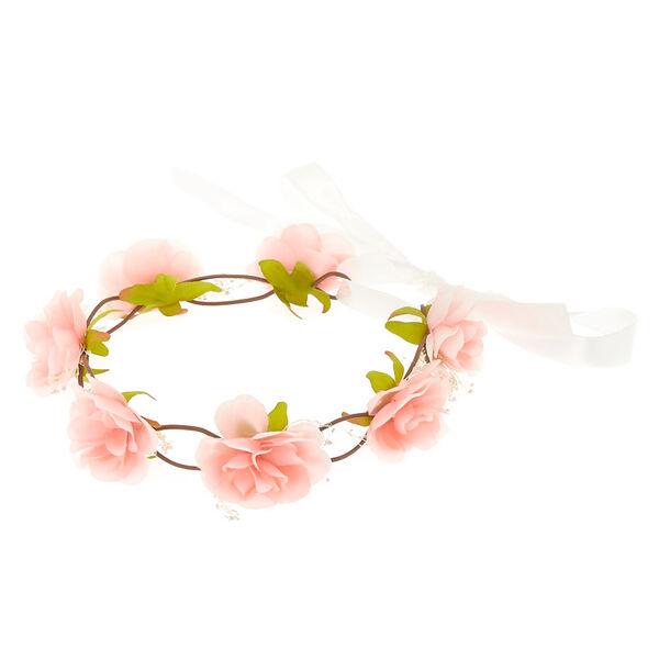 Claire's - blush rose baby breath tie headwrap - 1