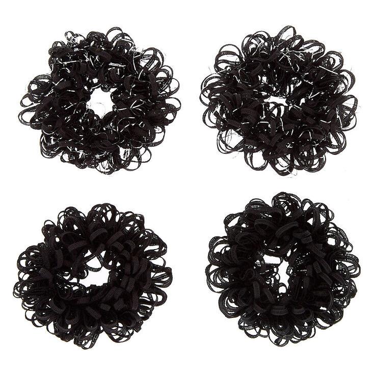 Small Lurex Loop Hair Scrunchies - Black, 4 Pack,