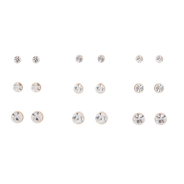 Claire's - rose crystal graduated stud earrings - 1