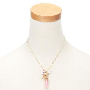 Paris Charm Bottle Pendant Necklace - Pink,