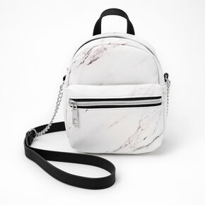 Marble Mini Backpack Crossbody Bag - Black & White,
