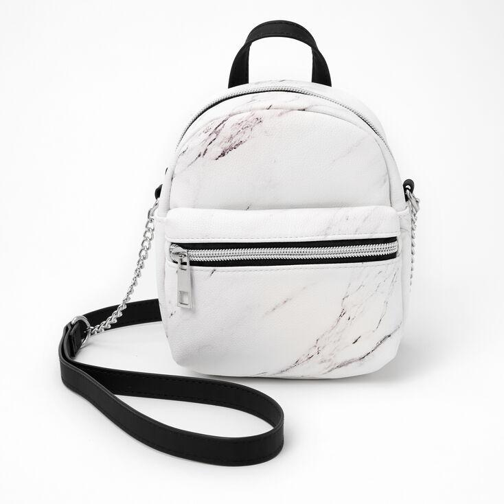 Marble Mini Backpack Crossbody Bag - Black & White,