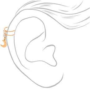 Gold Crystal Moon Charm Ear Cuff,