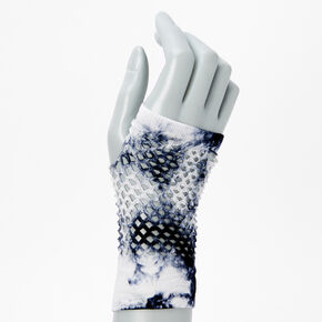 Blue and White Tie Dye Fishnet Gloves,