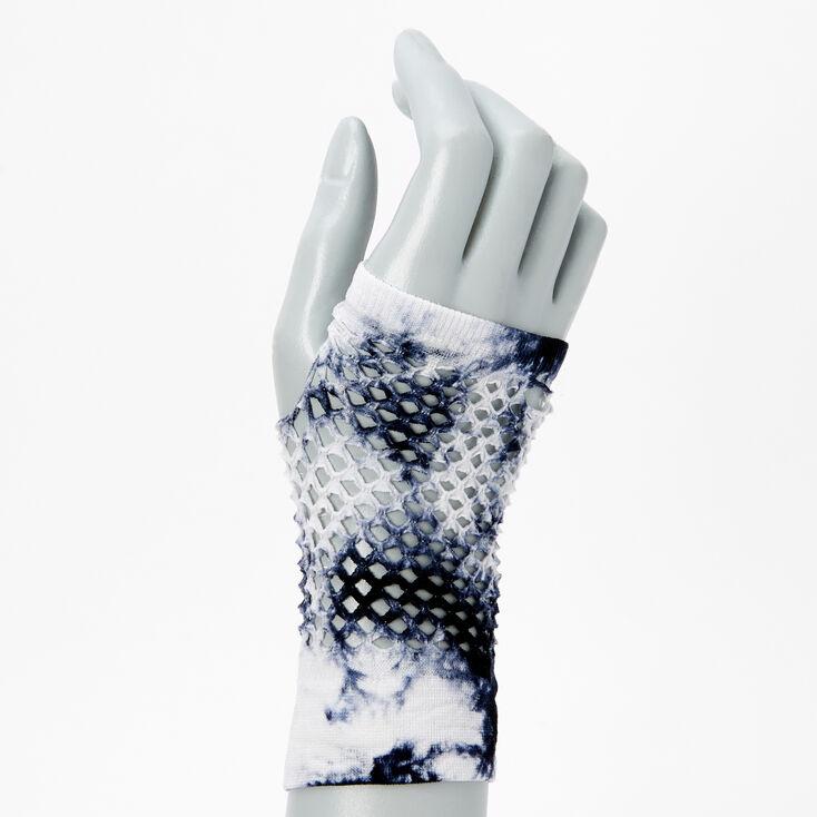 Blue and White Tie Dye Fishnet Gloves,
