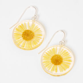 "Silver 1"" Sunflower Drop Earrings - Yellow,"
