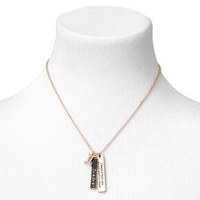 Collier à pendentif zodiaque rectangulaire couleur dorée - Gémeaux,