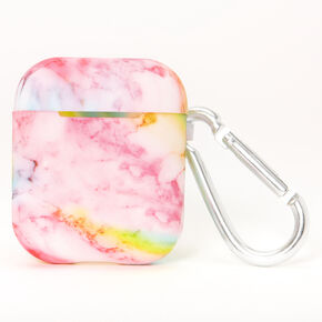 Rainbow Marble Silicone Earbud Case Cover - Compatible With Apple AirPods,