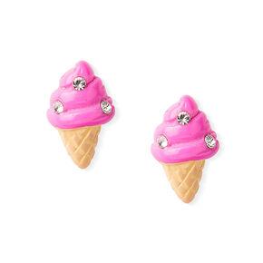 Sterling Silver Ice Cream Cone Stud Earrings - Pink,