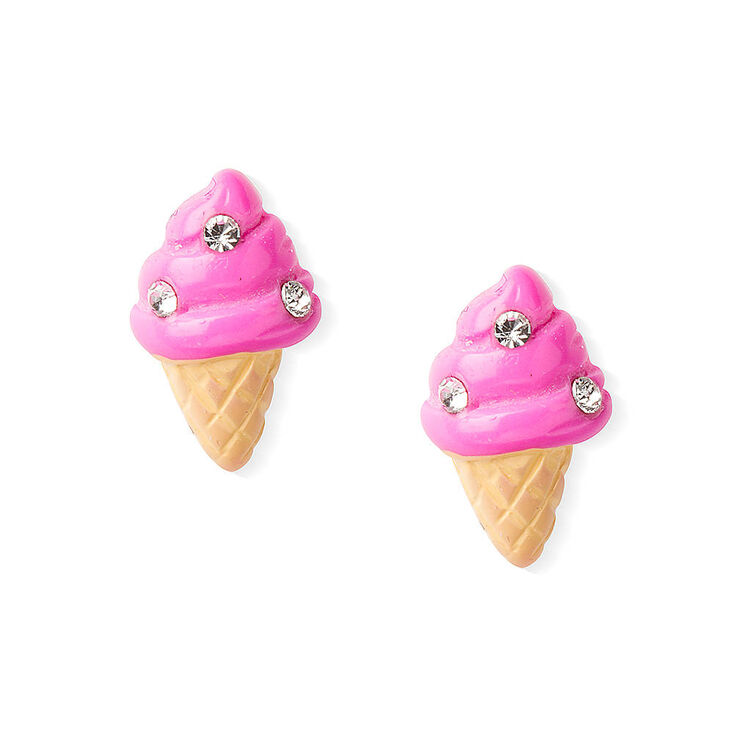 Sterling Silver Ice Cream Cone Stud Earrings - Pink,