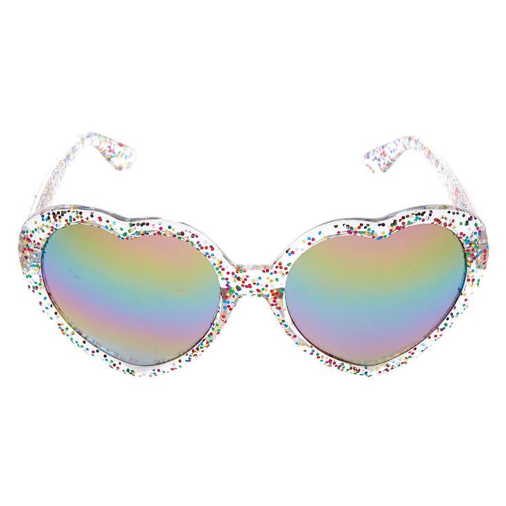 Glitter Heart Shaped Sunglasses - Clear,