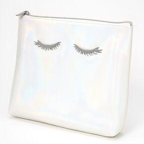 Trousse de maquillage irisée motif cils - Couleur nacrée,