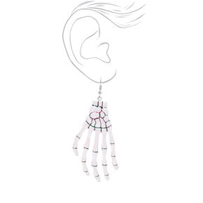 "Skeleton Hand 3"" Drop Earrings - White,"