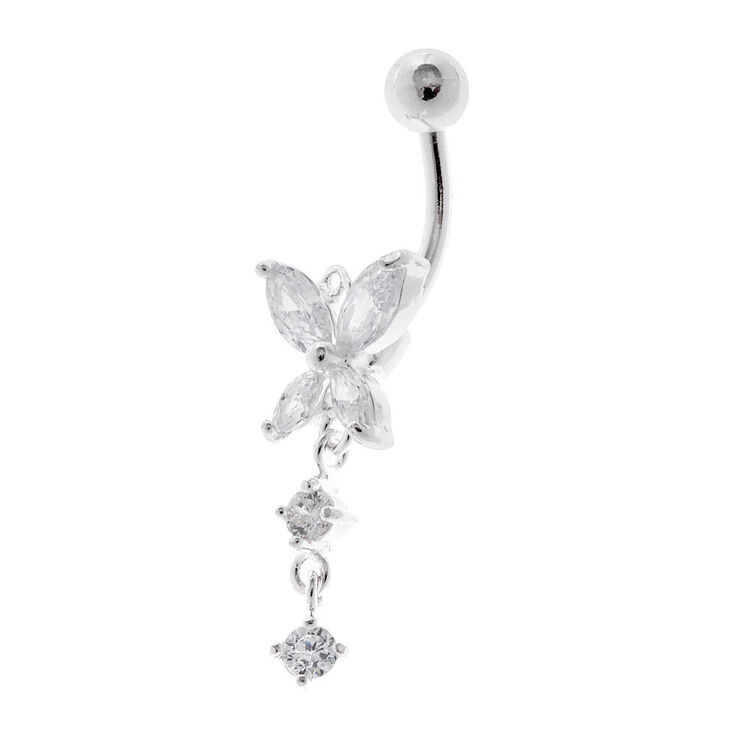 14g Crystal Butterfly Belly Ring